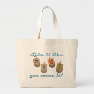 spin it like you mean it! large tote bag
