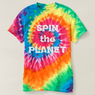 Spin the Planet Rainbow Ladies Tie Dye T-Shirt