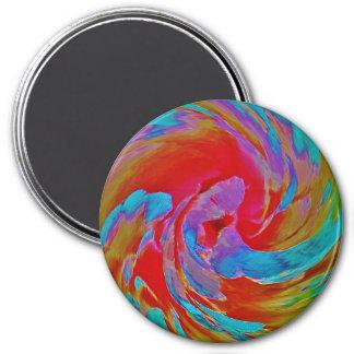 Spinart! Fluorescing Floral 3 Inch Round Magnet