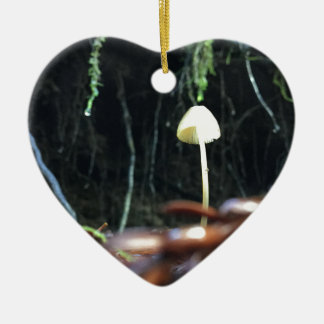 Spindly Mushroom Ceramic Heart Ornament