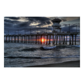 "Spingtime Storm ""Huntington Beach Pier Poster"