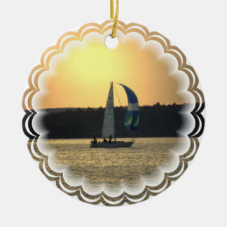 Spinnaker Sailboat Sunset Ornament