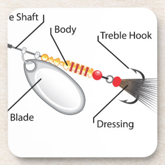Spinner fishing lure silver blade vector coaster