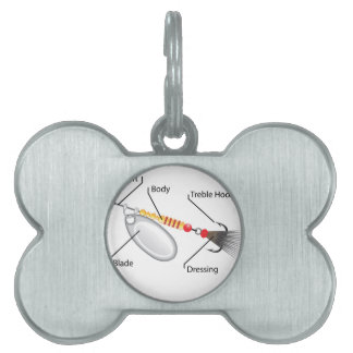 Spinner fishing lure silver blade vector pet name tag
