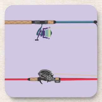 Spinning and baitcasting rods with reels handles coaster