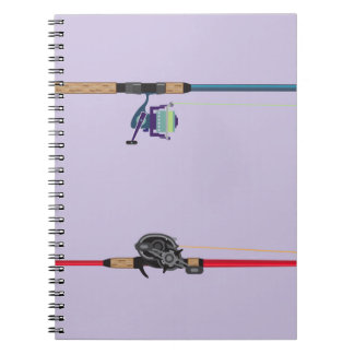 Spinning and baitcasting rods with reels handles spiral notebook