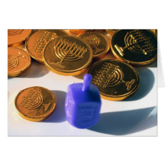Spinning Dreidel with Gelt (chocolate coins) Card