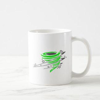 Spinning green tornado coffee mug