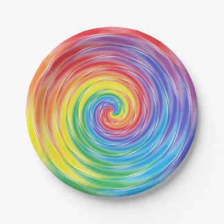 Spinning Rainbow Paper Plates 7 Inch Paper Plate