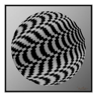 Spinning Silvery Globe Optical Illusion Poster