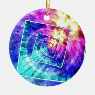 Spinning Tie Dye Abstract Round Ceramic Ornament