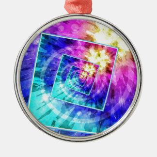 Spinning Tie Dye Abstract Silver-Colored Round Ornament