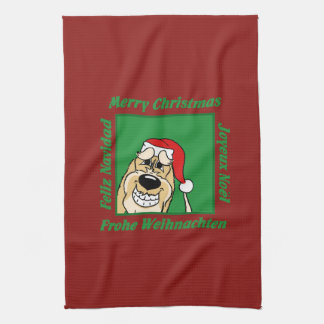 Spinone Italiano brightly Christmas Kitchen Towel