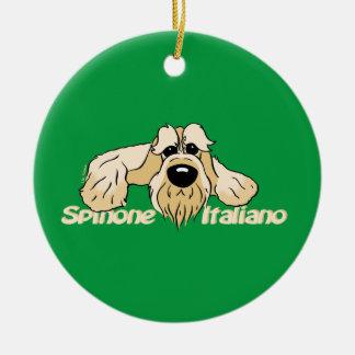 Spinone Italiano brightly head Cute Round Ceramic Ornament