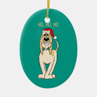 Spinone Italiano brightly Santa Ceramic Ornament