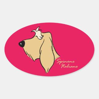 Spinone Italiano head silhouette blond Oval Sticker