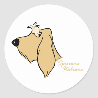 Spinone Italiano head silhouette blond Round Sticker