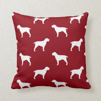 Spinone Italiano Silhouettes Pattern Red Throw Pillow