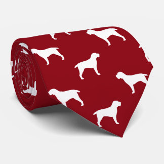 Spinone Italiano Silhouettes Pattern Red Tie