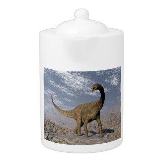 Spinophorosaurus dinosaur walking in the desert