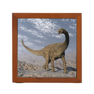 Spinophorosaurus dinosaur walking in the desert desk organizer