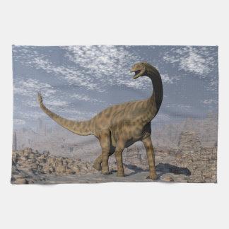 Spinophorosaurus dinosaur walking in the desert kitchen towel