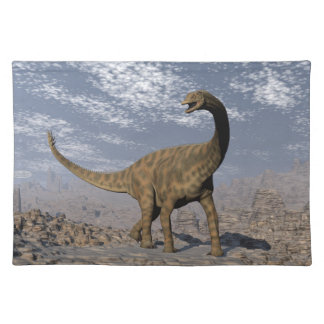 Spinophorosaurus dinosaur walking in the desert placemat