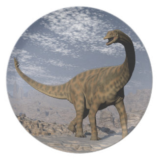 Spinophorosaurus dinosaur walking in the desert plate