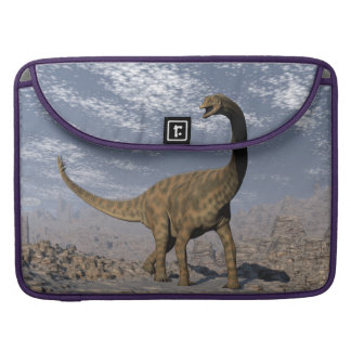 Spinophorosaurus dinosaur walking in the desert sleeve for MacBook pro