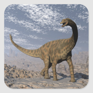 Spinophorosaurus dinosaur walking in the desert square sticker