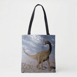 Spinophorosaurus dinosaur walking in the desert tote bag