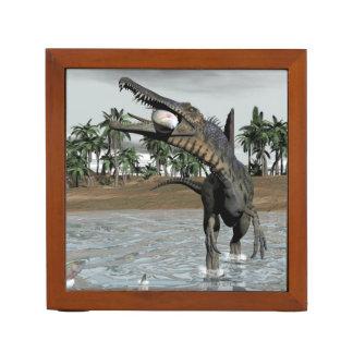 Spinosaurus dinosaur eating fish - 3D render Desk Organizer