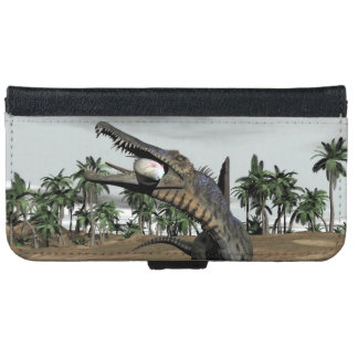 Spinosaurus dinosaur eating fish - 3D render iPhone 6 Wallet Case
