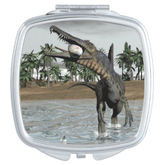 Spinosaurus dinosaur eating fish - 3D render Makeup Mirrors
