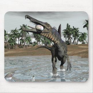 Spinosaurus dinosaur eating fish - 3D render Mouse Pad