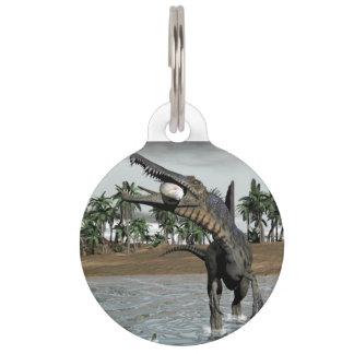 Spinosaurus dinosaur eating fish - 3D render Pet Name Tag