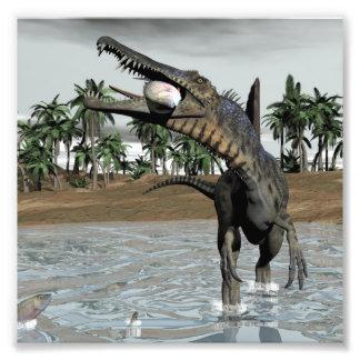 Spinosaurus dinosaur eating fish - 3D render Photo Print