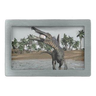 Spinosaurus dinosaur eating fish - 3D render Rectangular Belt Buckles