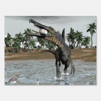 Spinosaurus dinosaur eating fish - 3D render Sign