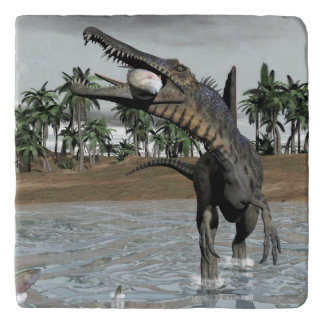Spinosaurus dinosaur eating fish - 3D render Trivet