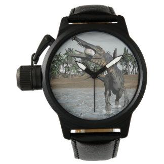Spinosaurus dinosaur eating fish - 3D render Watches