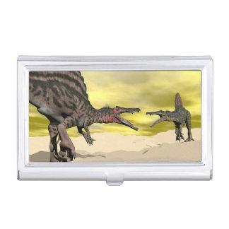 Spinosaurus dinosaur fighting - 3D render Business Card Holder