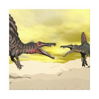 Spinosaurus dinosaur fighting - 3D render Canvas Print