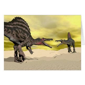 Spinosaurus dinosaur fighting - 3D render Card