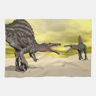 Spinosaurus dinosaur fighting - 3D render Kitchen Towel
