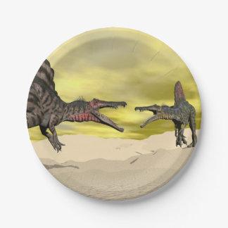 Spinosaurus dinosaur fighting - 3D render Paper Plate