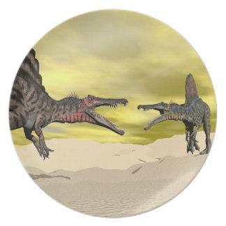 Spinosaurus dinosaur fighting - 3D render Plate