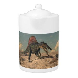Spinosaurus dinosaur hunting a snake