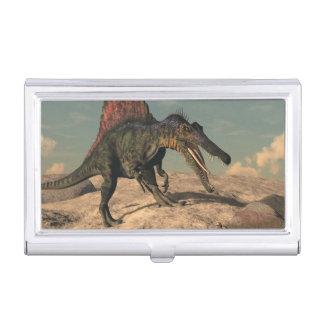 Spinosaurus dinosaur hunting a snake business card holder