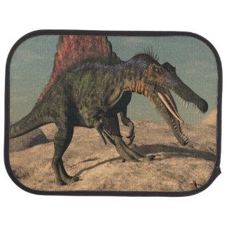 Spinosaurus dinosaur hunting a snake car carpet